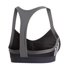 adidas Womens All Me 3 Stripes Sports Bra Black XS, Black, rebel_hi-res