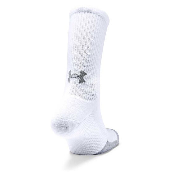 Under Armour HeatGear Crew Socks, White, rebel_hi-res