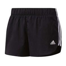 adidas Womens M18 Woven Shorts Black / White XS Adult, Black / White, rebel_hi-res