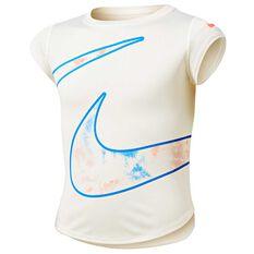 Nike Girls Tie Dye Split Swoosh Tee Ivory 4, Ivory, rebel_hi-res