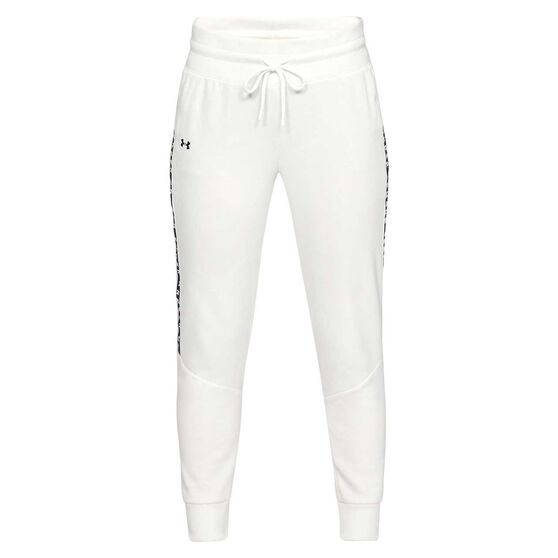 Under Armour Womens Taped Fleece Pants, White, rebel_hi-res