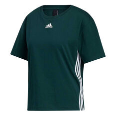 adidas Womens Must Haves 3-Stripes Tee Green XS, Green, rebel_hi-res