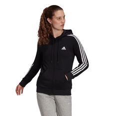 adidas Womens Essentials Fleece 3-Stripes Hoodie Black XS, Black, rebel_hi-res