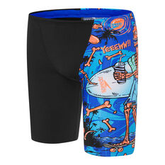 Speedo Boys Tropical Bonez Jammer Swim Shorts Black 6, Black, rebel_hi-res