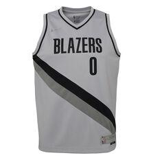 Nike Portland Trail Blazers Damian Lillard 2020/21 Kids Earned Jersey Grey S, Grey, rebel_hi-res
