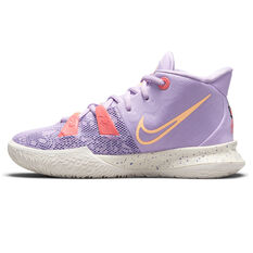 Nike Kyrie 7 Daughters Azurie Kids Basketball Shoes Lilac US 4, Lilac, rebel_hi-res
