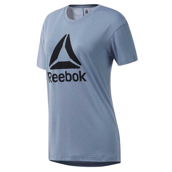 Reebok Womens WOR Logo Tee, Blue, rebel_hi-res