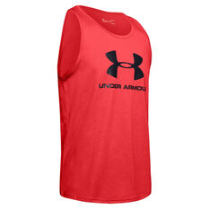 Under Armour Mens Sportstyle Logo Tank, Red, rebel_hi-res