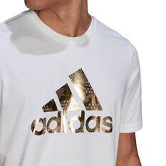adidas Foil Logo Mens Graphic Tee, White, rebel_hi-res