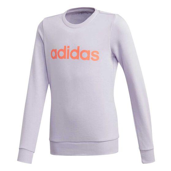 adidas Girls Essentials Linear Sweatshirt Purple / Coral 12, Purple / Coral, rebel_hi-res