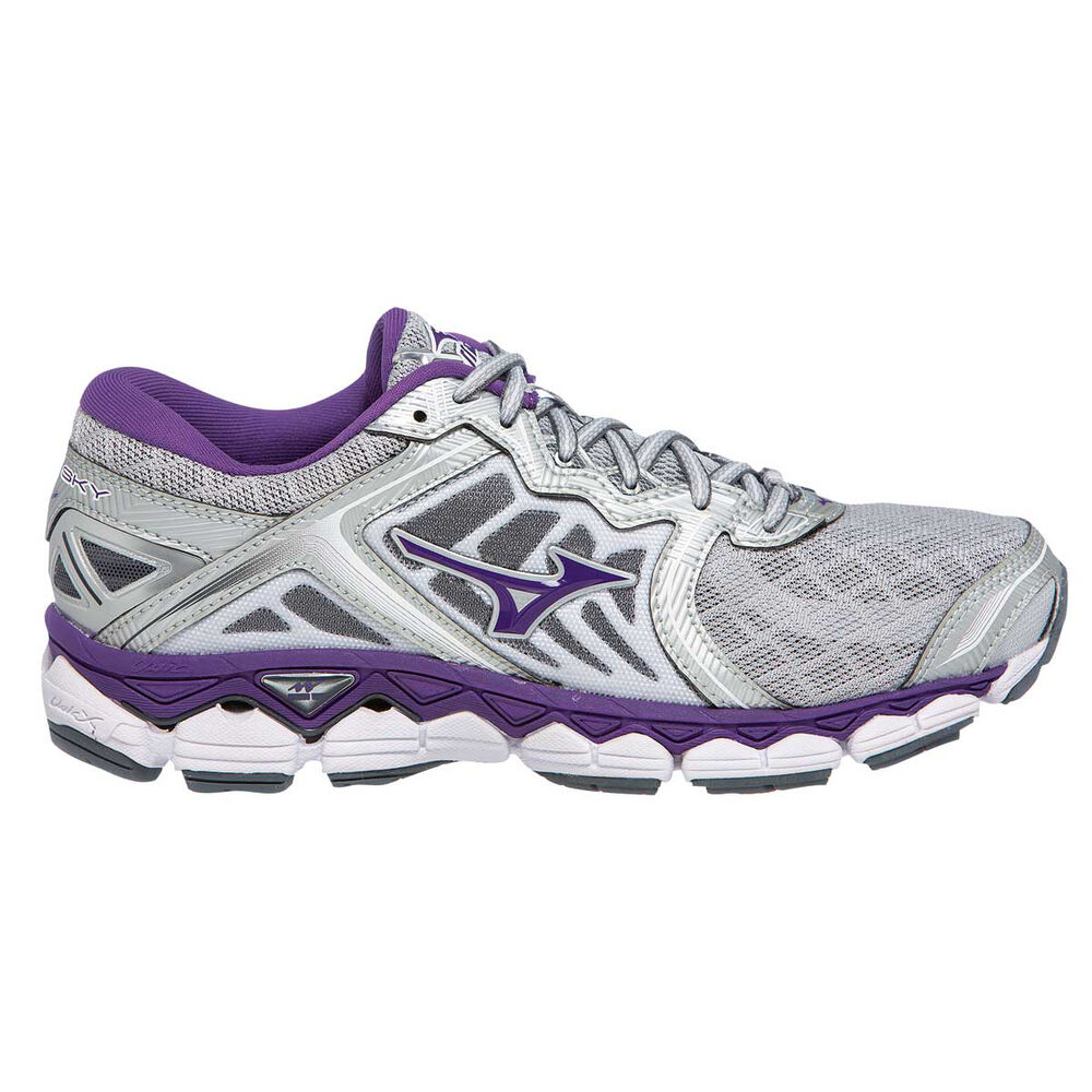 Mizuno Wave Sky D Womens Running Shoes Silver   Purple US 6  3962d6442