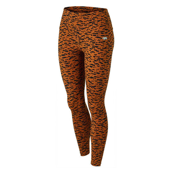 Running Bare Womens Ab Waisted Fight Club Full Length Tights, Print, rebel_hi-res