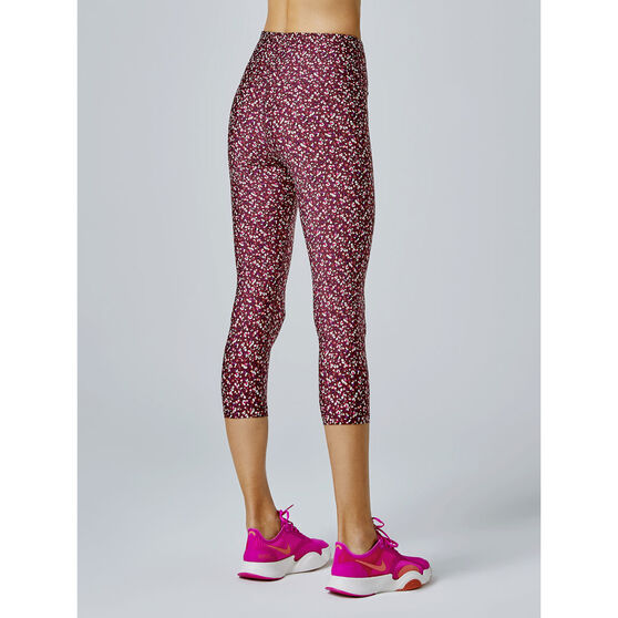 Running Bare Womens Ab Waisted Fight Club 3/4 Tights, Print, rebel_hi-res