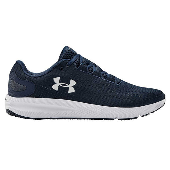 Under Armour Charged Pursuit 2 Mens Running Shoes, Navy/White, rebel_hi-res
