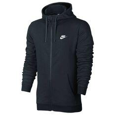 Nike Mens NSW Club Terry Full Zip Hoodie Black S adult, Black, rebel_hi-res