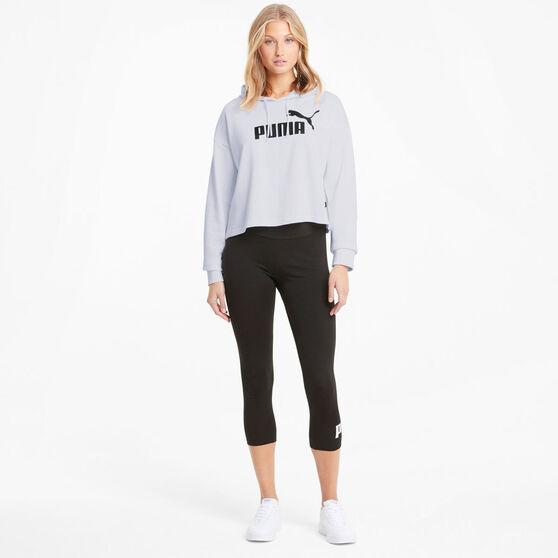 Puma Womens Essentials Logo Cropped Hoodie, White, rebel_hi-res
