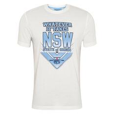 NSW Blues State of Origin 2020 Mens Whatever It Takes Tee White S, White, rebel_hi-res