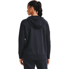 Under Armour Womens Rival Fleece Full Zip Hoodie, Black, rebel_hi-res