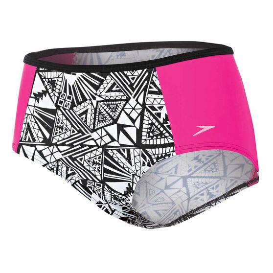 b33f485e61 Speedo Womens High Waisted Swim Briefs Pink / Print S Adults, Pink / Print,