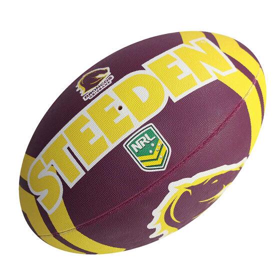 Steeden NRL Brisbane Broncos Supporter Rugby League Ball, , rebel_hi-res