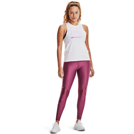 Under Armour Womens Sportstyle Graphic Muscle Tank, White, rebel_hi-res