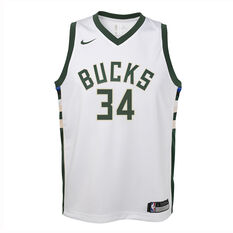 Nike Milwaukee Bucks Giannis Antetokounmpo 2019/20 Kids Association Edition Swingman Jersey White / Green S, White / Green, rebel_hi-res