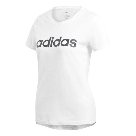 adidas Womens Essentials Linear Slim Tee, White / Black, rebel_hi-res