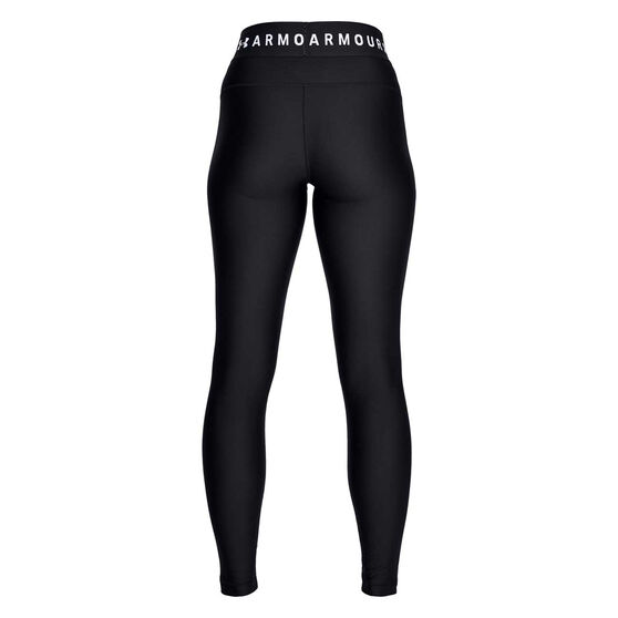 Under Armour Womens HeatGear Armour Tights, Black / White, rebel_hi-res