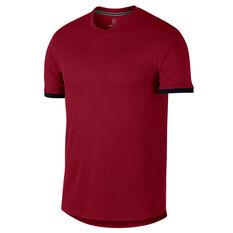 Nike Mens Court Dri FIT Tennis Tee Crimson XS, Crimson, rebel_hi-res