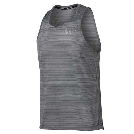 Nike Mens Dri FIT Miler Running Tank, Grey, rebel_hi-res