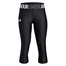 Under Armour Girls HeatGear Armour Capri Tights Black / White XS, Black / White, rebel_hi-res