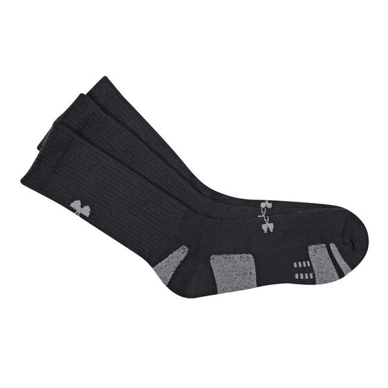 f2d8e608b Under Armour HeatGear Crew 3 Pack Socks Black / White M, Black / White,