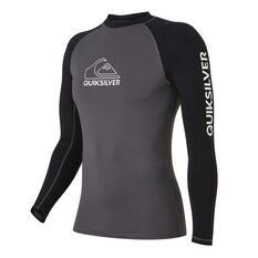 Quiksilver Mens On Tour Long Sleeve Rash Vest Grey / Black S, Grey / Black, rebel_hi-res