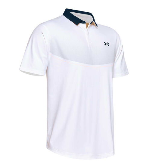 Under Armour Mens Iso-Chill Graphic Polo, White, rebel_hi-res