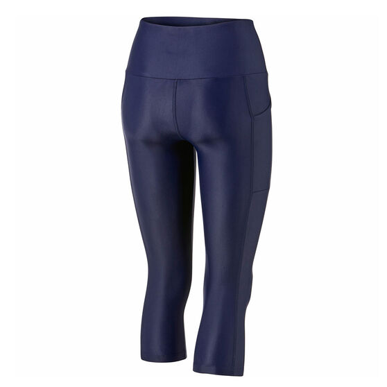 Running Bare Womens Ab Waisted Power Moves 3/4 Tights, Blue, rebel_hi-res