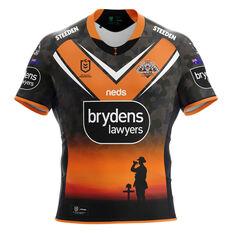 Wests Tigers 2021 Mens ANZAC Jersey Black/Orange S, Black/Orange, rebel_hi-res