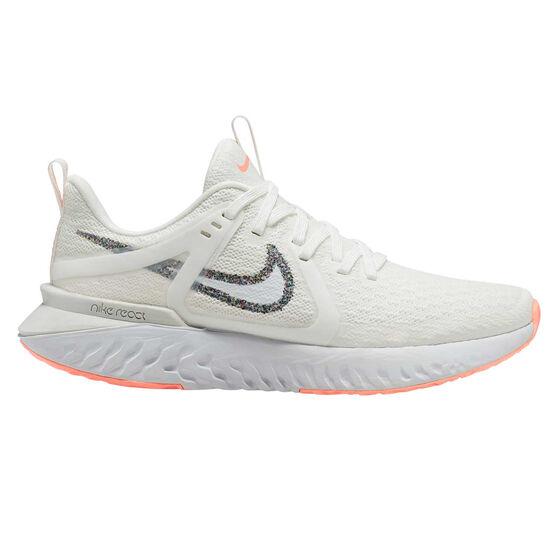 Nike Legend React 2 Womens Running Shoes, White / Orange, rebel_hi-res