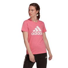 adidas Womens Loungewear Essentials Logo Tee, Pink, rebel_hi-res