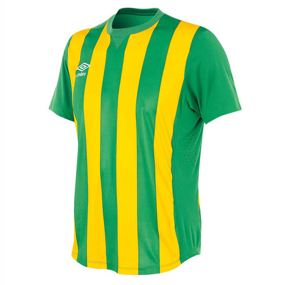 Umbro Mens Striped Jersey, Green / Gold, rebel_hi-res