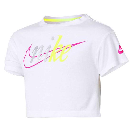 Nike Girls Sportswear Crop Tee, White, rebel_hi-res