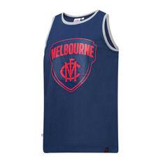 Melbourne Demons Mens Supporter Logo Tank Blue S, Blue, rebel_hi-res