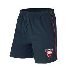 Sydney Swans Mens Core Training Shorts Black S, Black, rebel_hi-res