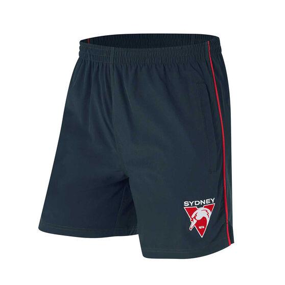 Sydney Swans Mens Core Training Shorts, Black, rebel_hi-res