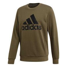 adidas Mens Must Haves Badge of Sport French Terry Sweatshirt Khaki S, Khaki, rebel_hi-res