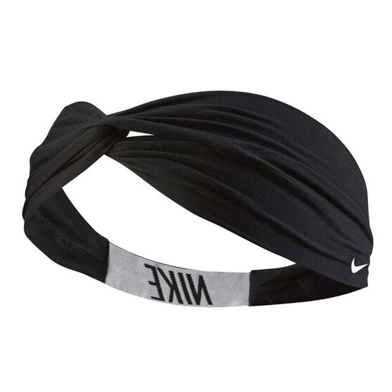 Nike Womens Logo Twist Headband Black / White OSFA, , rebel_hi-res