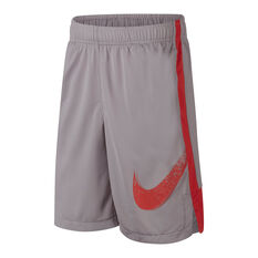 Nike Boys Dri FIT Graphic Training Shorts Grey / Red XS, Grey / Red, rebel_hi-res