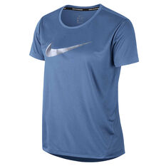 Nike Womens Miler Running Tee Blue XS, Blue, rebel_hi-res