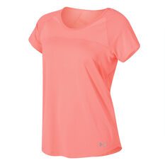 Under Armour Womens Fly By Tee Coral XS, Coral, rebel_hi-res