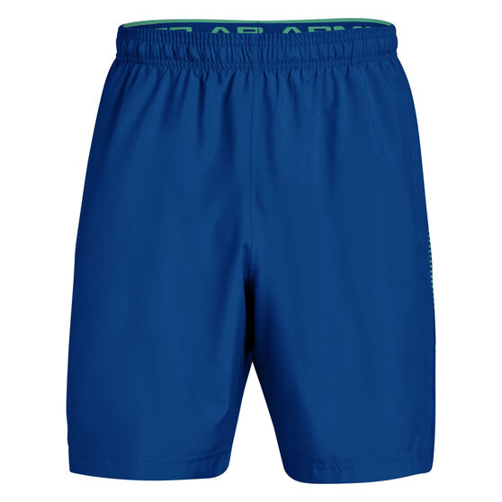 Under Armour Mens Woven Graphic Training Shorts, Royal / Green, rebel_hi-res