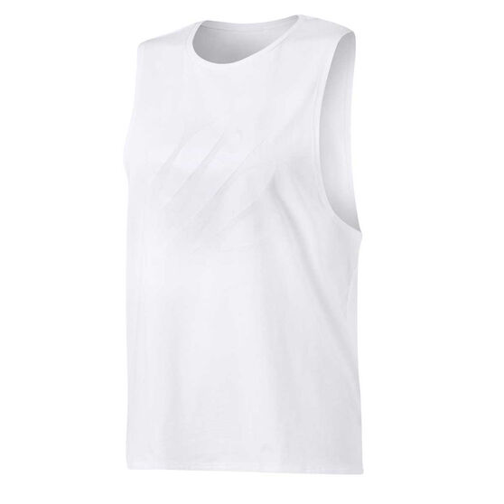 Ell & Voo Womens Abigail Muscle Tank, White, rebel_hi-res